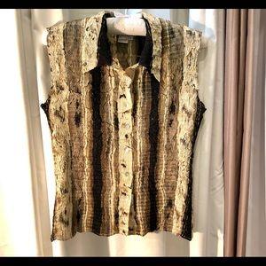 Alberto Makali Crinkle Sleeveless Sequin Blouse
